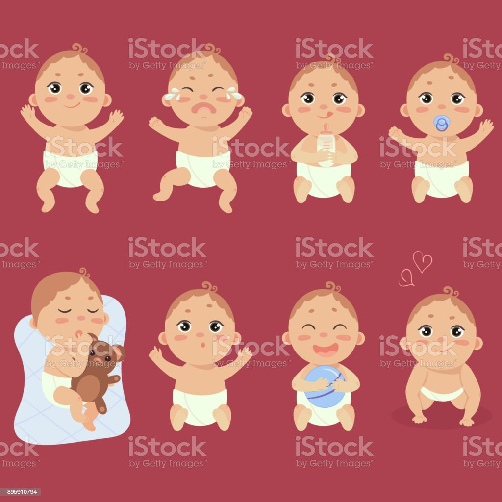 Cute little baby in diaper with different emotions vector art illustration