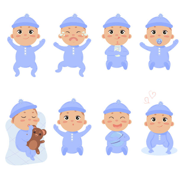 cute little baby in footies with different emotions - tears of joy emoji stock illustrations