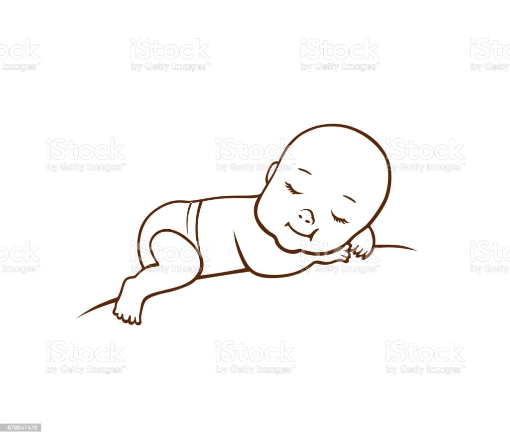 Cute little baby vector art illustration