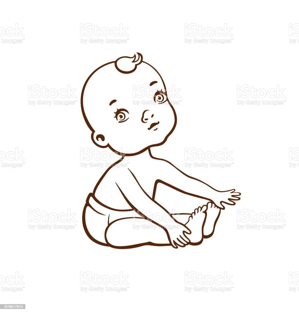 Cute little baby vector art illustration
