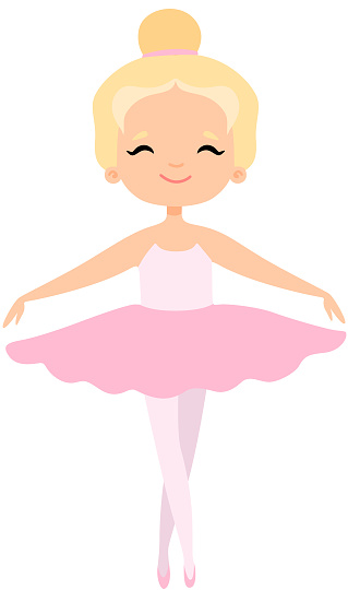 Cute Little Ballerina Dancing, Blonde Girl Ballet Dancer Character in Pink Tutu Dress Vector Illustration
