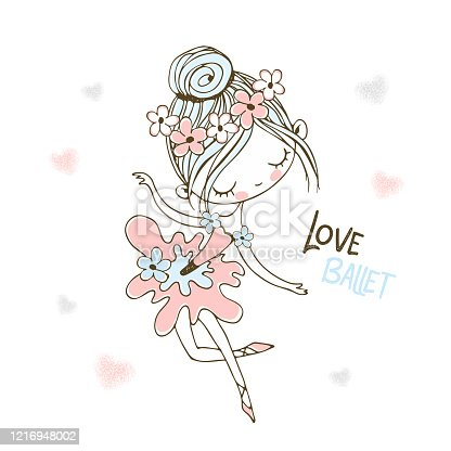 A cute little ballerina in a tutu is dancing. Vector