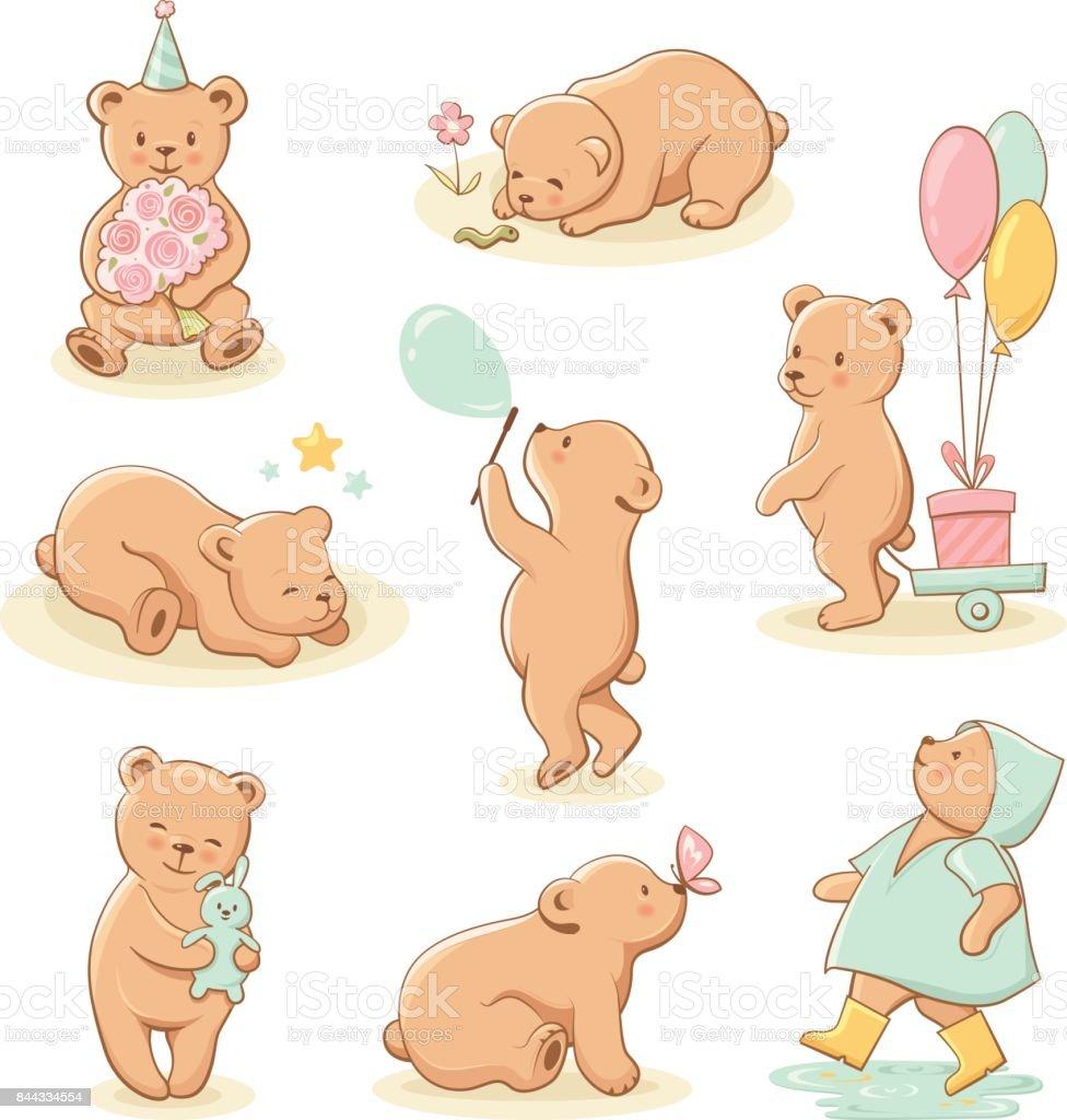 Cute little bear characters set. vector art illustration