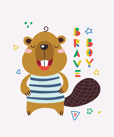 Cute little beaver is smiling. Text Brave boy. Animal kingdom set. Super-kawaii and adorable animals. Cartoon character and lettering. Flat illustration for kid's poster, t-shirt and other art.