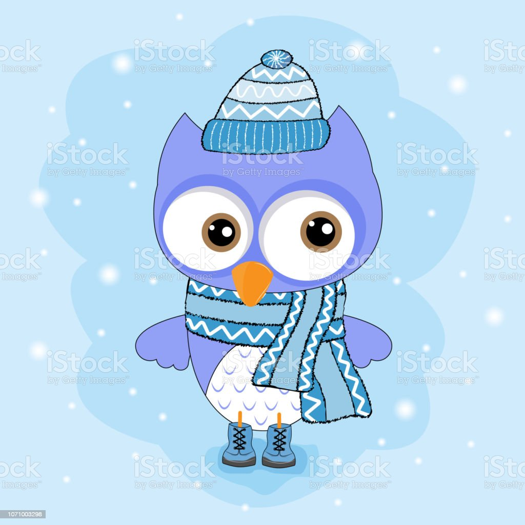 Cute little bird owl in hat isolated in blue background. vector art illustration
