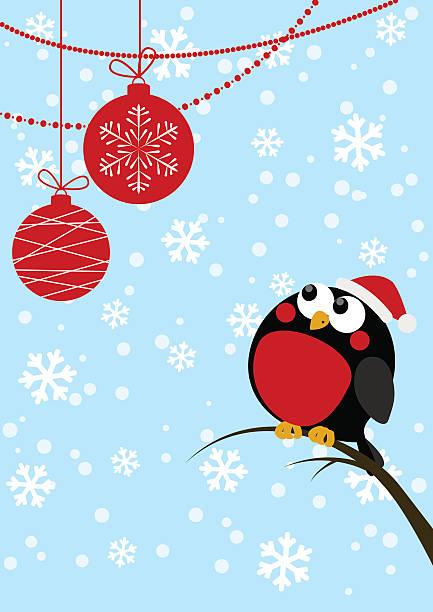 süße kleine vogel mit christmas balls - dompfaff stock-grafiken, -clipart, -cartoons und -symbole