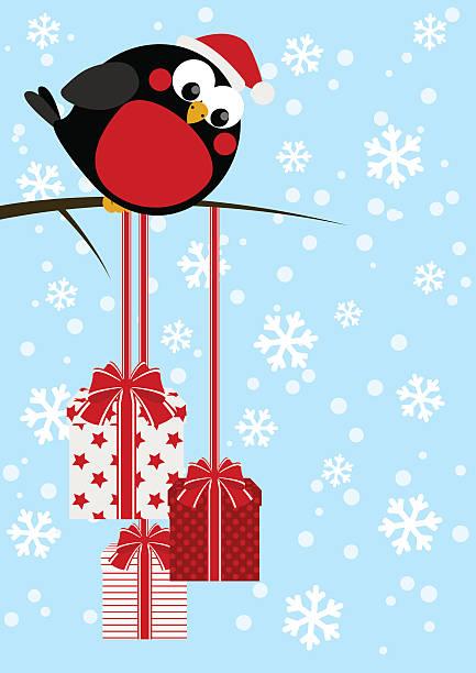 süße kleine vogel mit weihnachtsgeschenke - dompfaff stock-grafiken, -clipart, -cartoons und -symbole