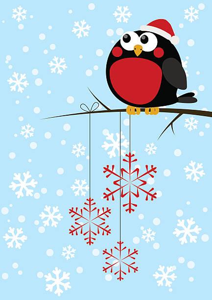 süße kleine vogel mit schneeflocken weihnachten - dompfaff stock-grafiken, -clipart, -cartoons und -symbole