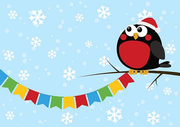 süße kleine vogel mit party flags - dompfaff stock-grafiken, -clipart, -cartoons und -symbole