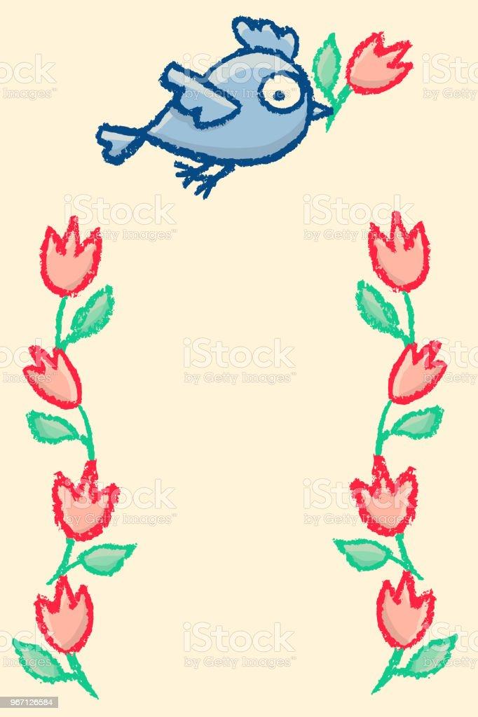 Niedlich Kleine Vögel Rahmen Stock Vektor Art und mehr Bilder von ...