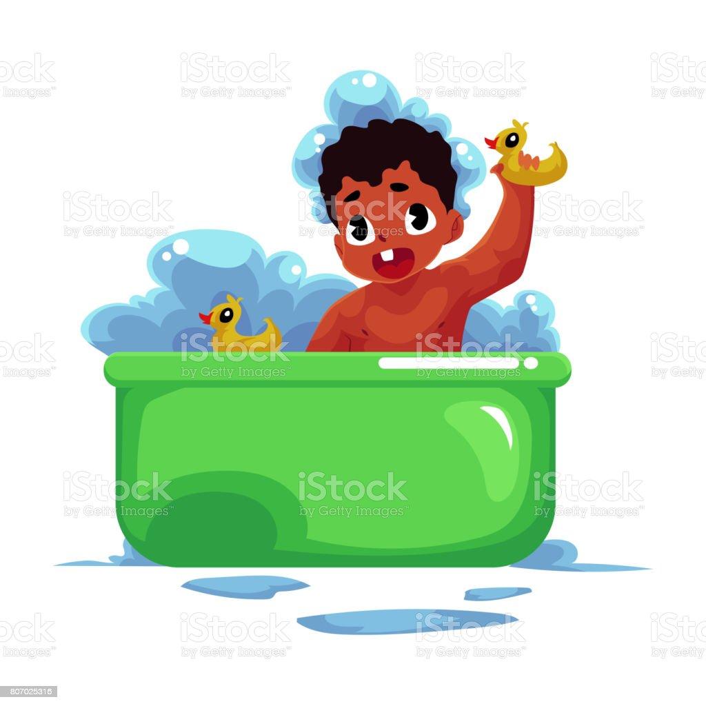 Cute cartoon boy having bath Royalty Free Vector Image