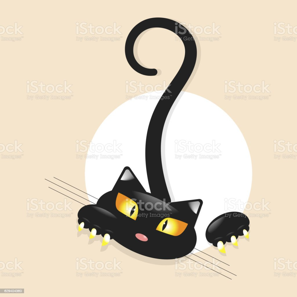 Cute little black kitty vector art illustration