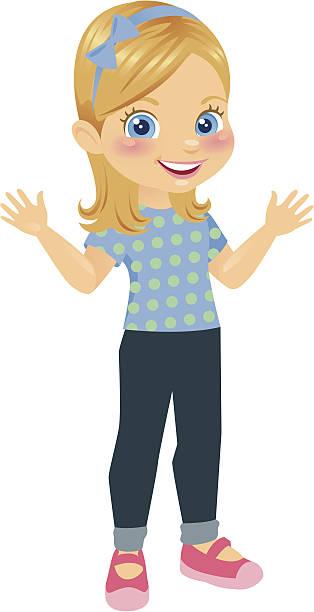 ilustraciones, imágenes clip art, dibujos animados e iconos de stock de linda niña rubia - ojos azules