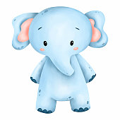 Illustration of a cute little blue elephant on a white background