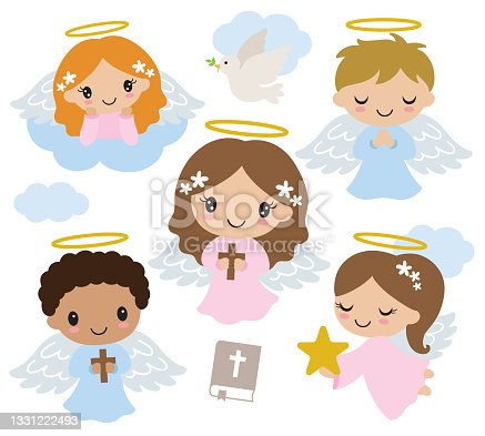 istock Cute Little Boy and Girl Baptism Angels Vector Illustration 1331222493