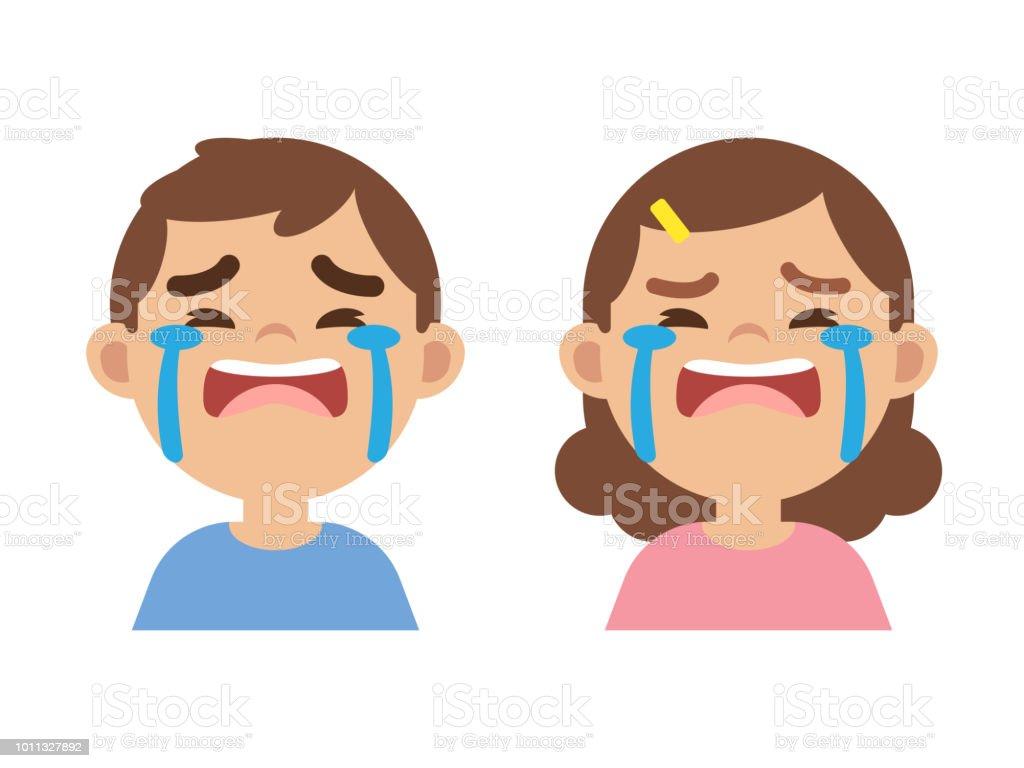 かわいい男の子と女の子が泣き顔を近くにベクトル イラスト - 1人の
