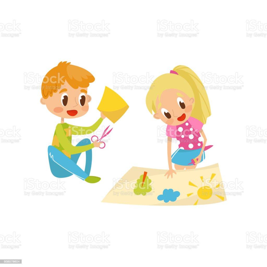 Ilustración de Lindo Pequeño Niño Y Niña Corte Detalles De ... 28da90a373f