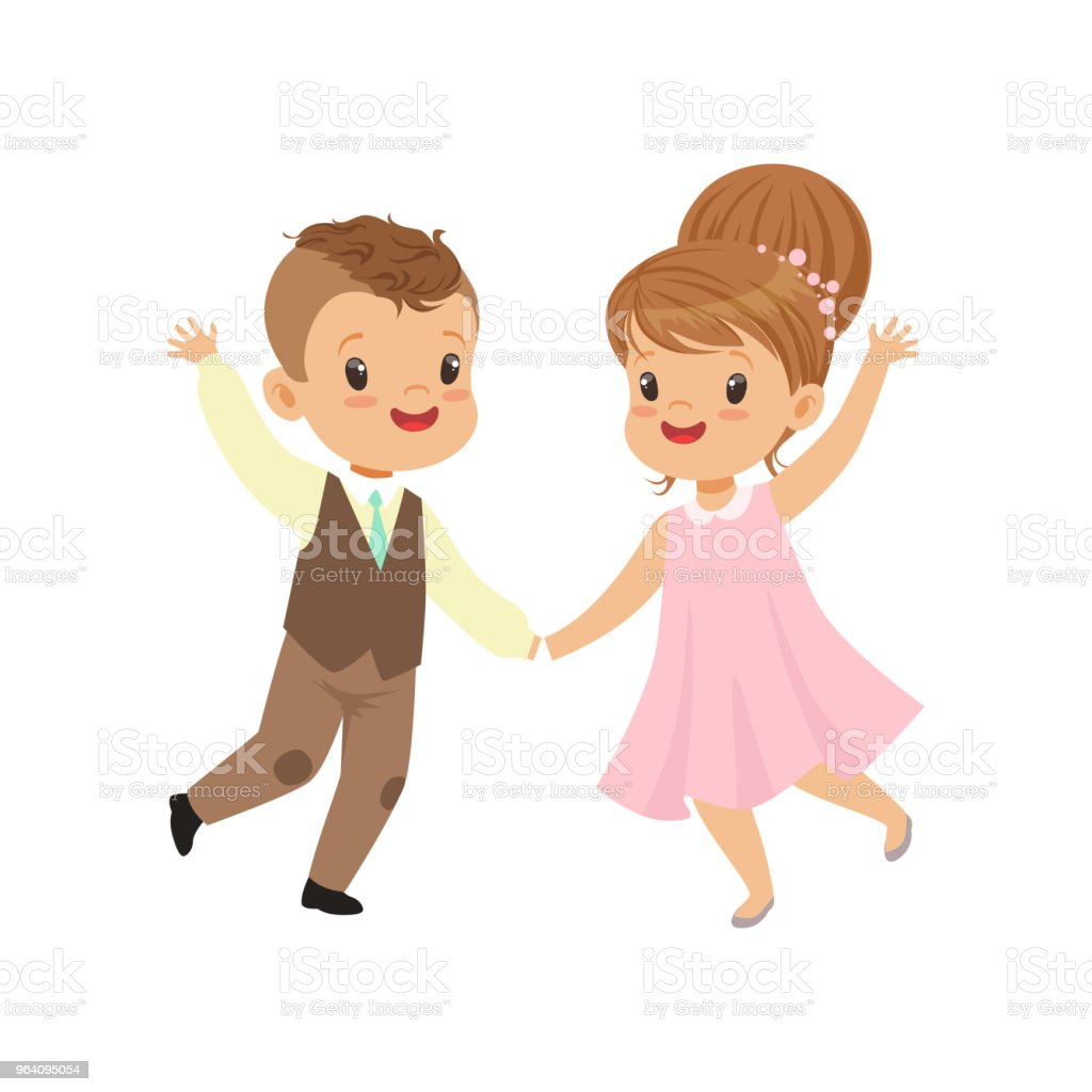 Cute little boy and girl dancing in retro elegant clothes vector Illustration on a white background - Royalty-free Arts Culture and Entertainment stock vector