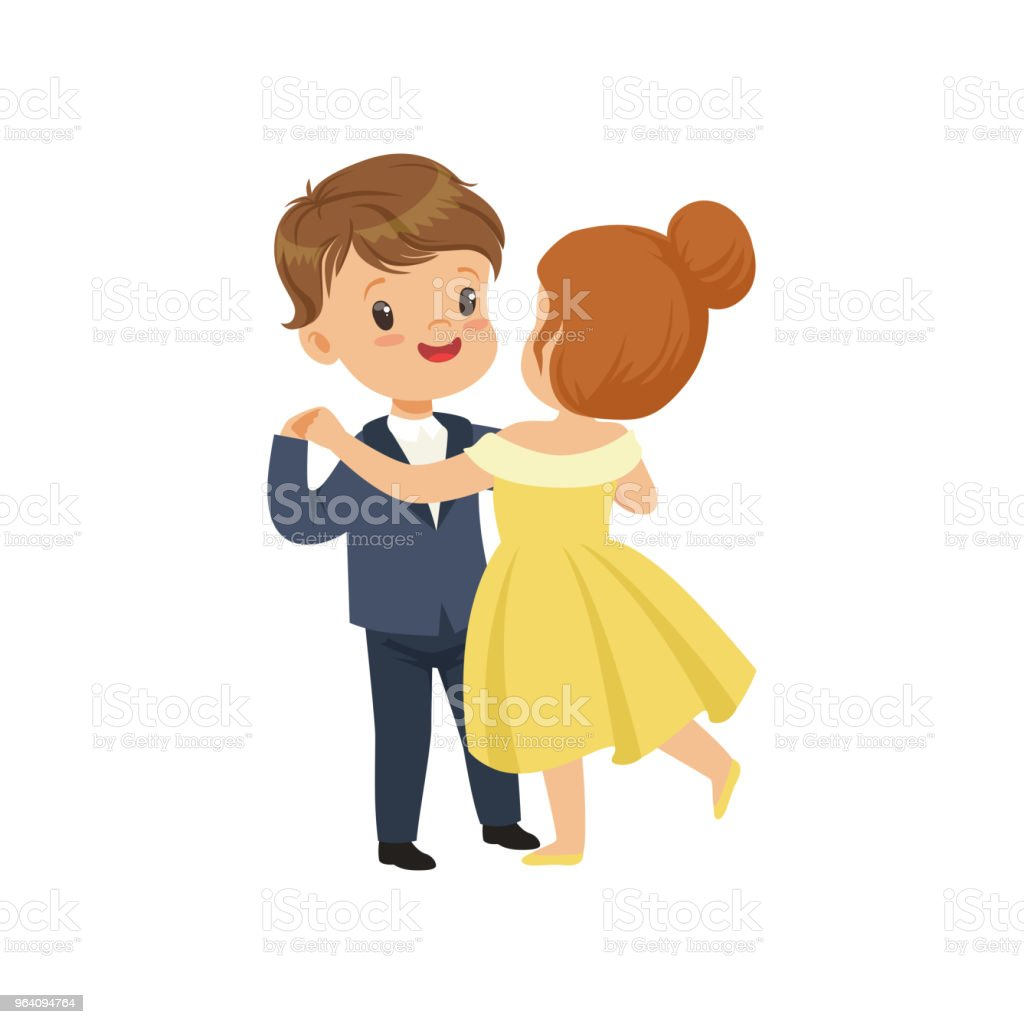 Cute little boy and girl dancing waltz in elegant clothes vector Illustration on a white background - Royalty-free Arts Culture and Entertainment stock vector