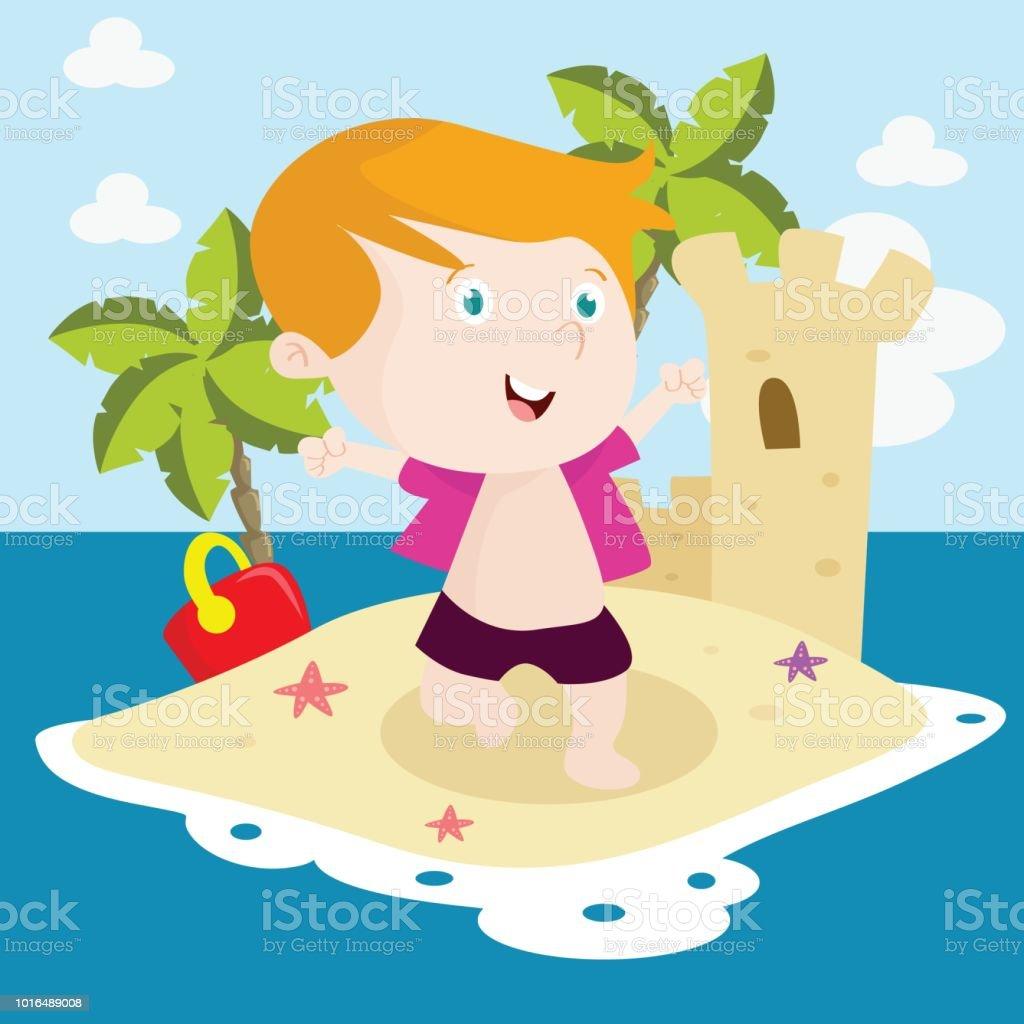 Kawaii Island Go Vacation: Cute Little Boy Are Enjoying A Holiday And Having Fun On