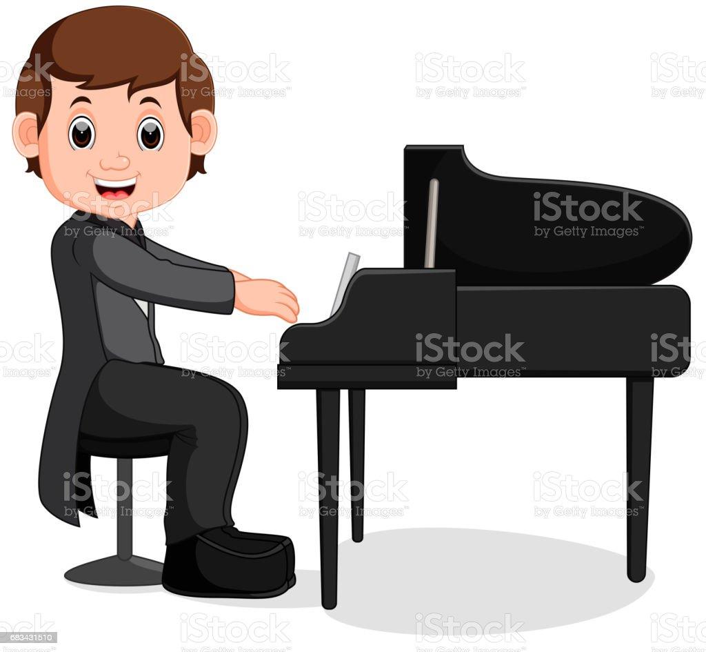 Ilustración De Cute Dibujos Animados Niño Pequeño Tocando El Piano Y