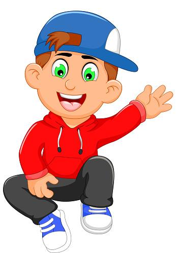 Ilustración de Cute Little Boy Cartoon Waving y más