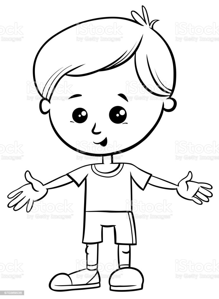 かわいい小さな男の子キャラクター塗り絵 お絵かきのベクターアート