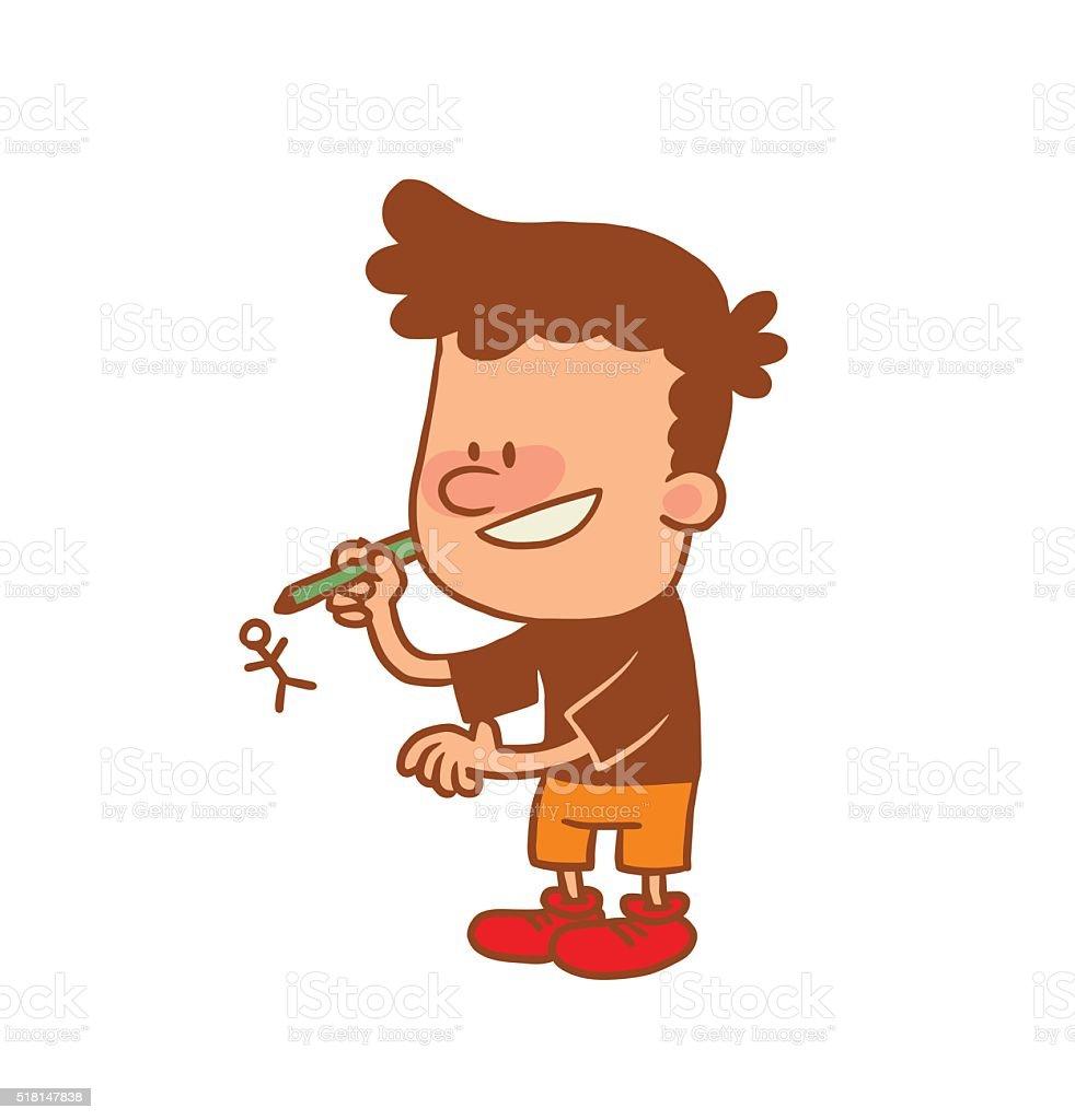 Joli petit gar on dessin gar on de crayon de couleurimage - Dessin petit garcon ...