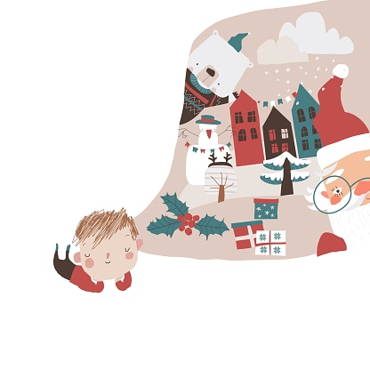 Cute Little Boy dreaming about Winter Holidays