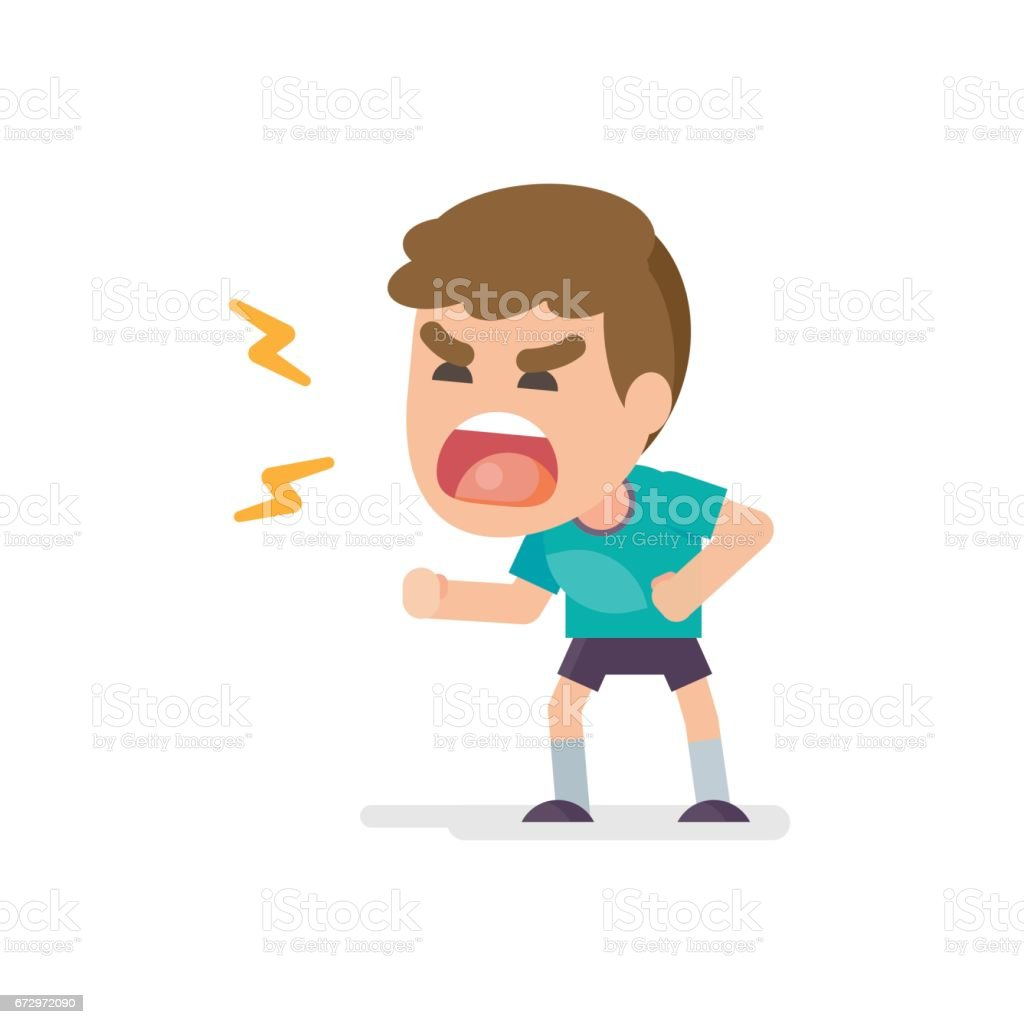 Cute little boy gets mad angry fighting and shouting expression, Vector illustration. vector art illustration