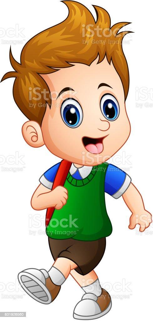 Cute little boy go to school vector art illustration