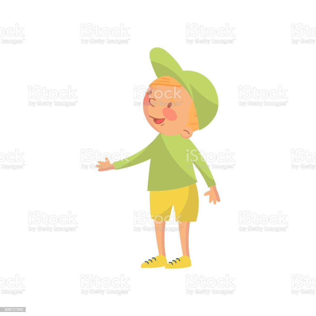 緑の帽子とシャツ漫画文字ベクトル イラストかわいい男の子