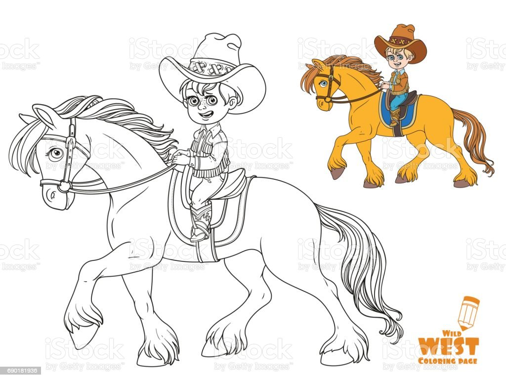 Cute Little Boy In Cowboy Suit Riding On A Horse Coloring