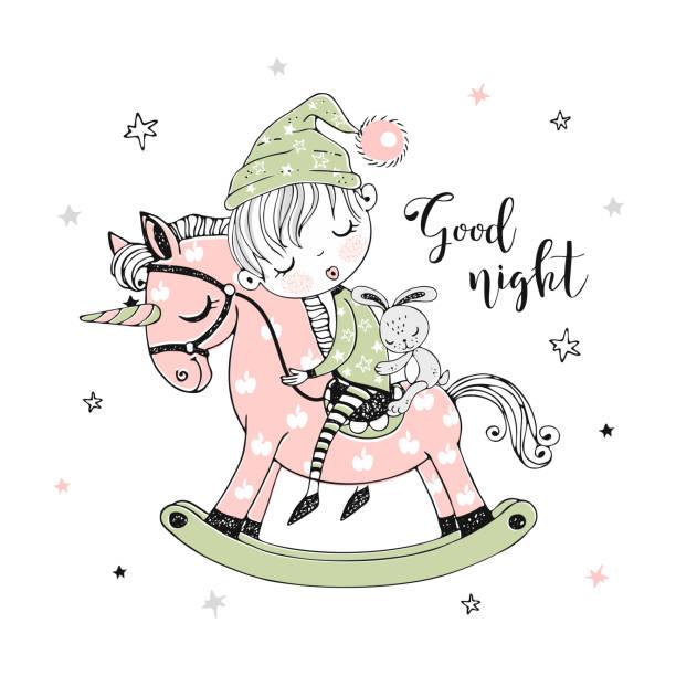 ilustrações de stock, clip art, desenhos animados e ícones de cute little boy is sleeping sweetly on a unicorn toy horse. vector - unicorn bed