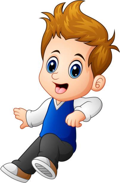 Best Cartoon Of The Cute Boy Brown Hair Eyes Illustrations