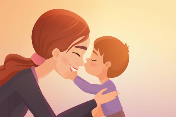 stockillustraties, clipart, cartoons en iconen met schattige kleine jongen kusjes zijn gelukkige moeder cartoon vector illustratie. - kussen met de mond