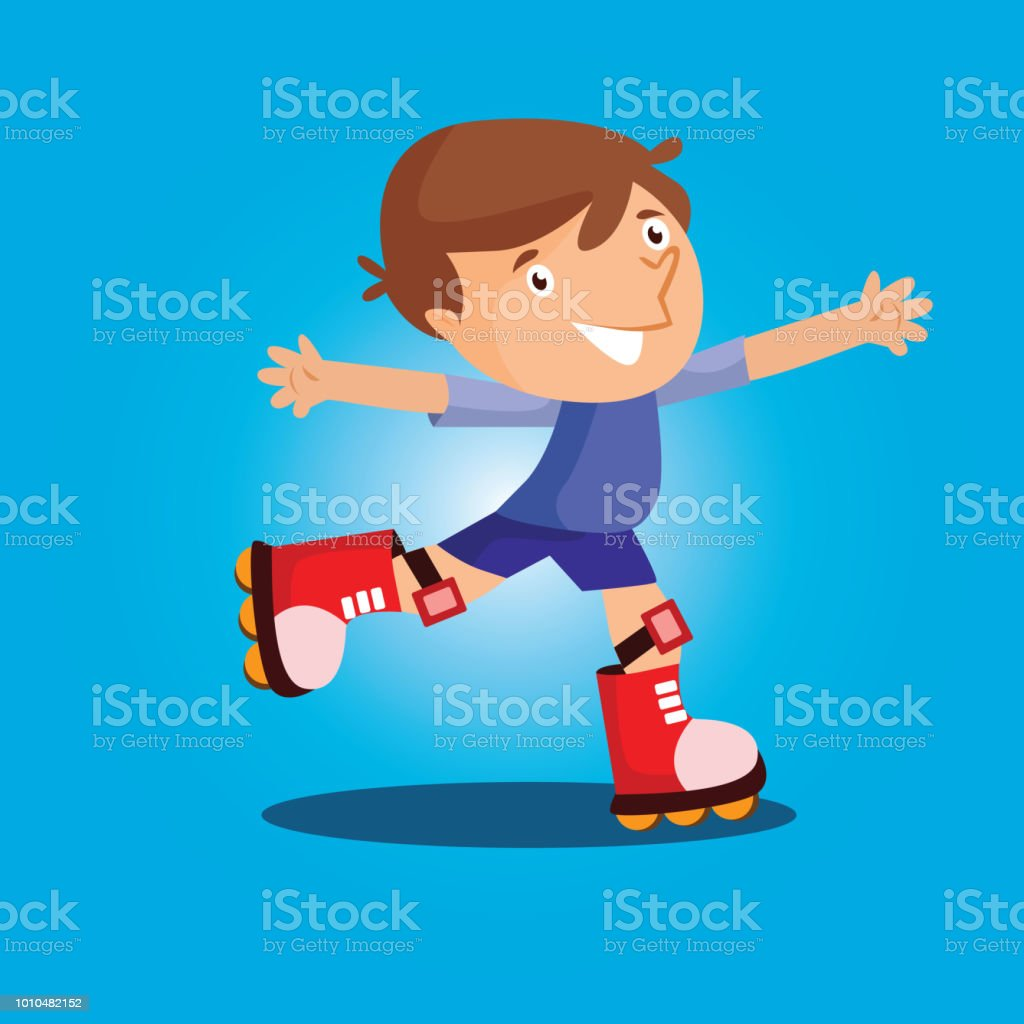 Cute Little Boy Play Roller Skate Alone Cartoon Character Stock Illustration Download Image Now Istock