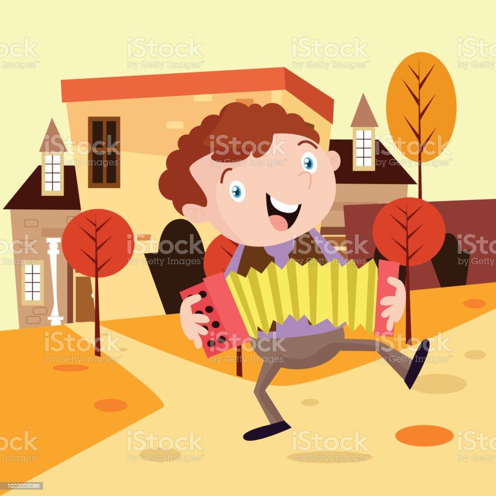 niedlicher kleine Junge Akkordeon Musizieren am Nachmittag vor dem Haus, Comicfigur – Vektorgrafik