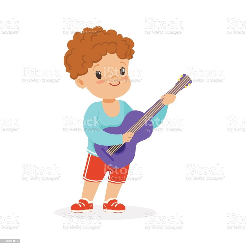 Ilustración De Lindo Niño Pequeño Tocando La Guitarra Joven