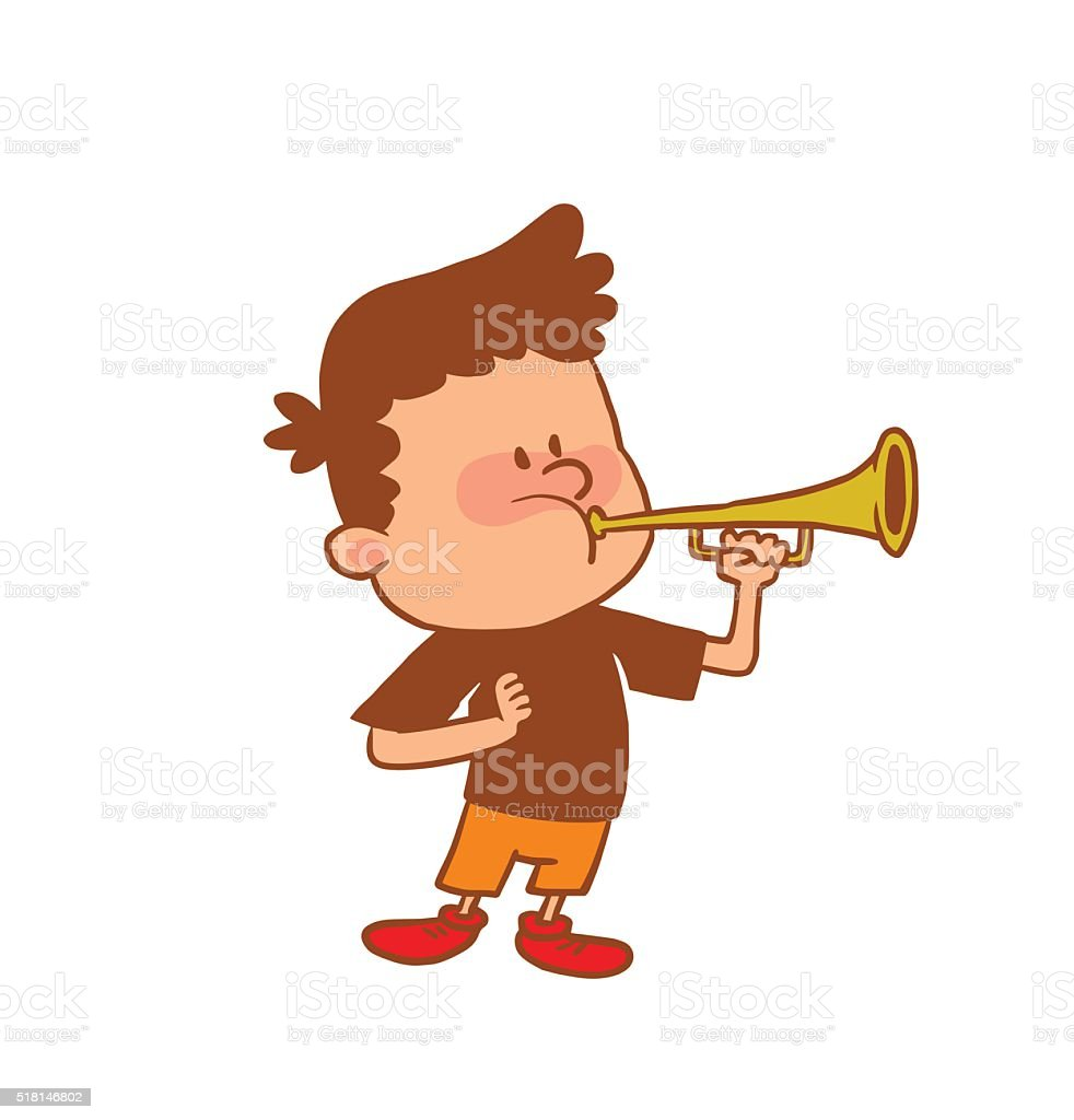 Cute little boy playing the horn, color image vector art illustration