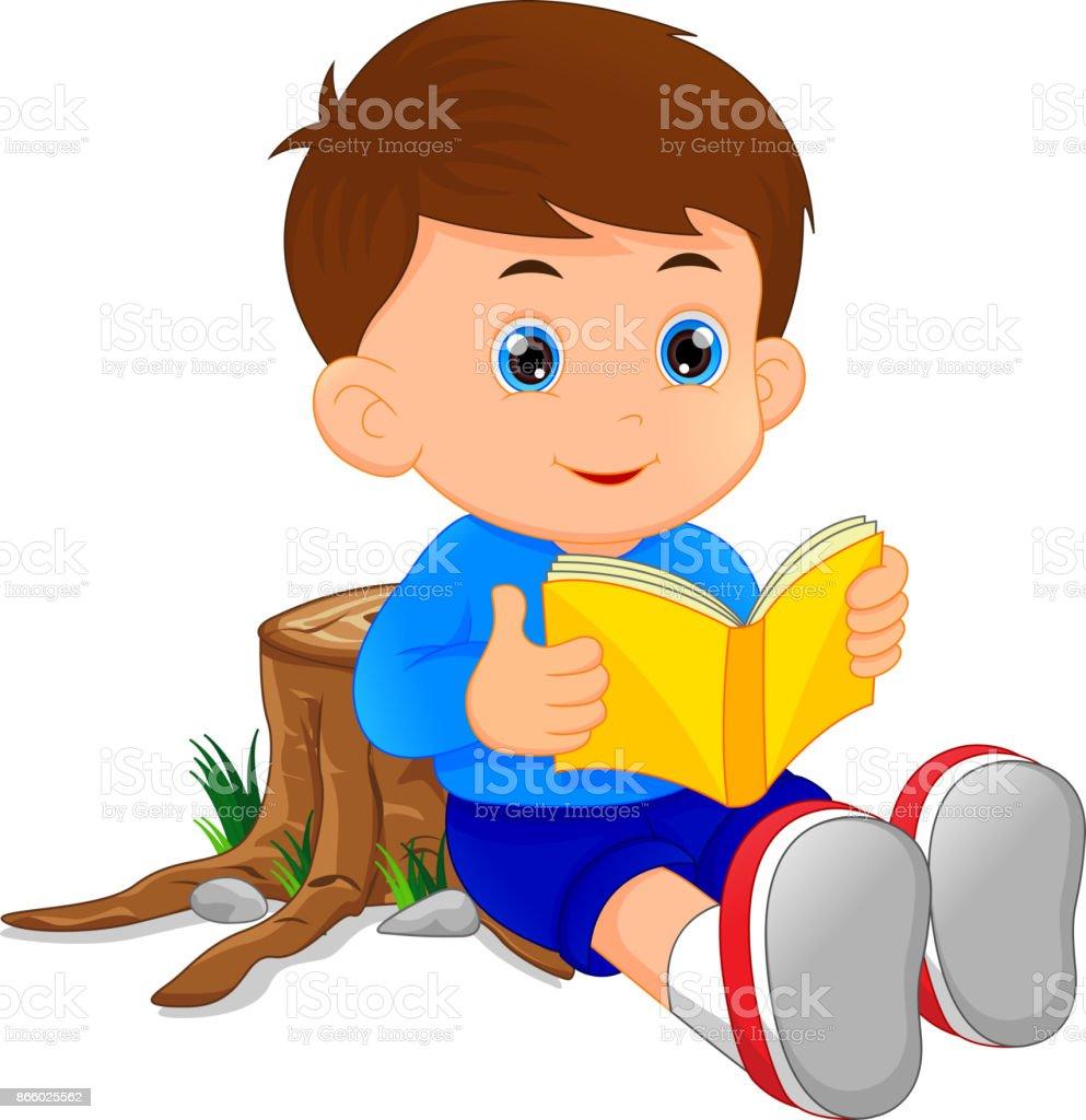 かわいい少年の読書本 - まぶしいのベクターアート素材や画像を多数ご