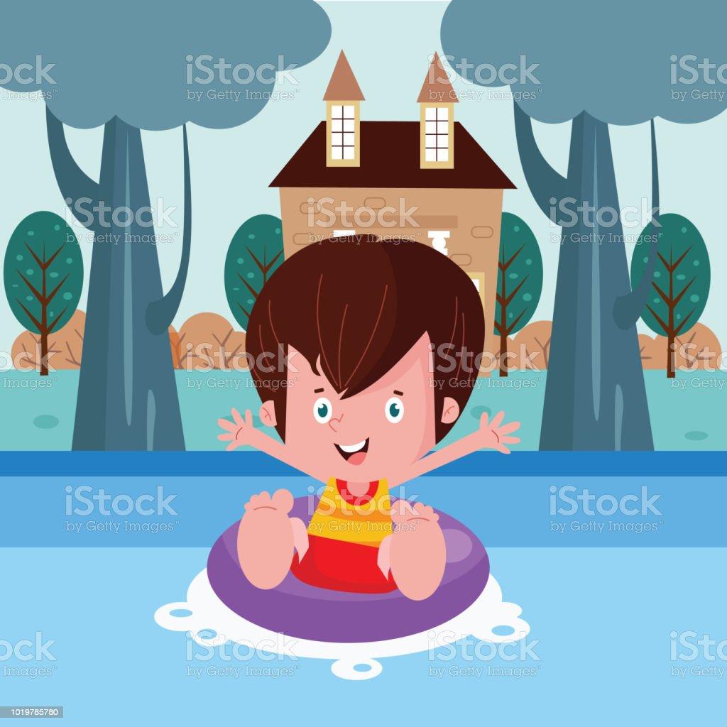 Ilustración De Lindo Muchachito Nadando Cerca De Los árboles Cerca