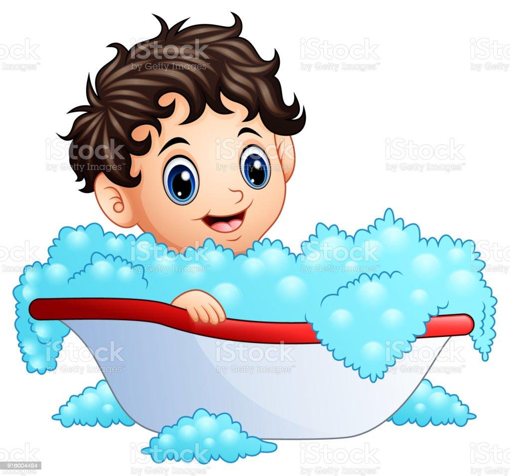 Cute little boy taking a bath on a white background vector art illustration