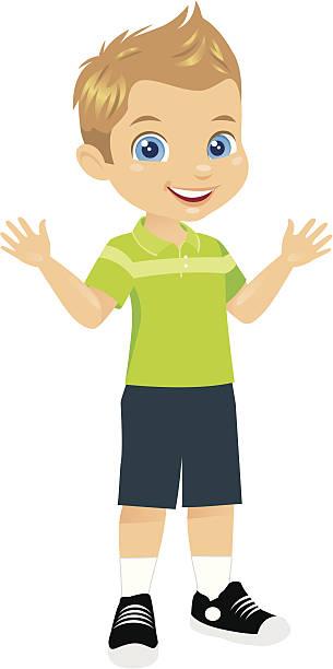 ilustraciones, imágenes clip art, dibujos animados e iconos de stock de linda little boy - ojos azules