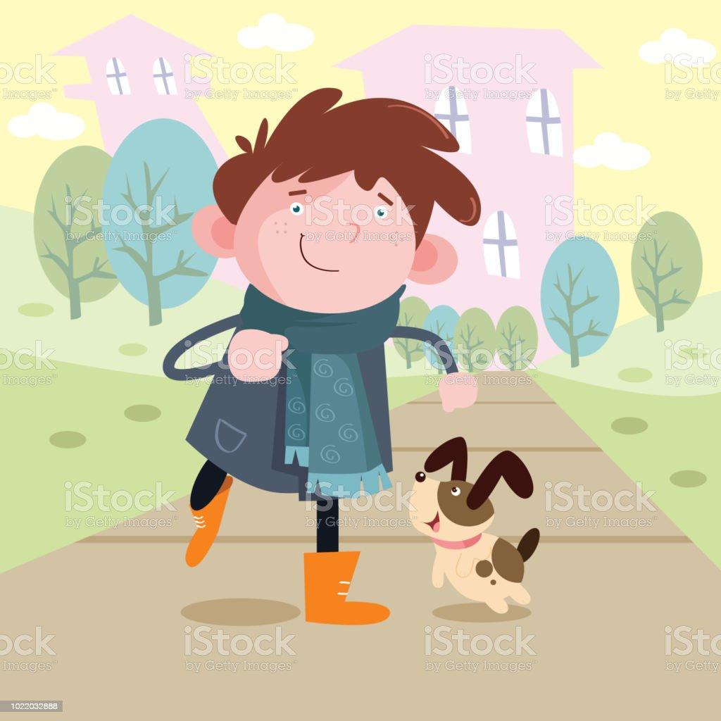 Mignon Petit Garcon Se Promener Avec Son Petit Chien Personnage De