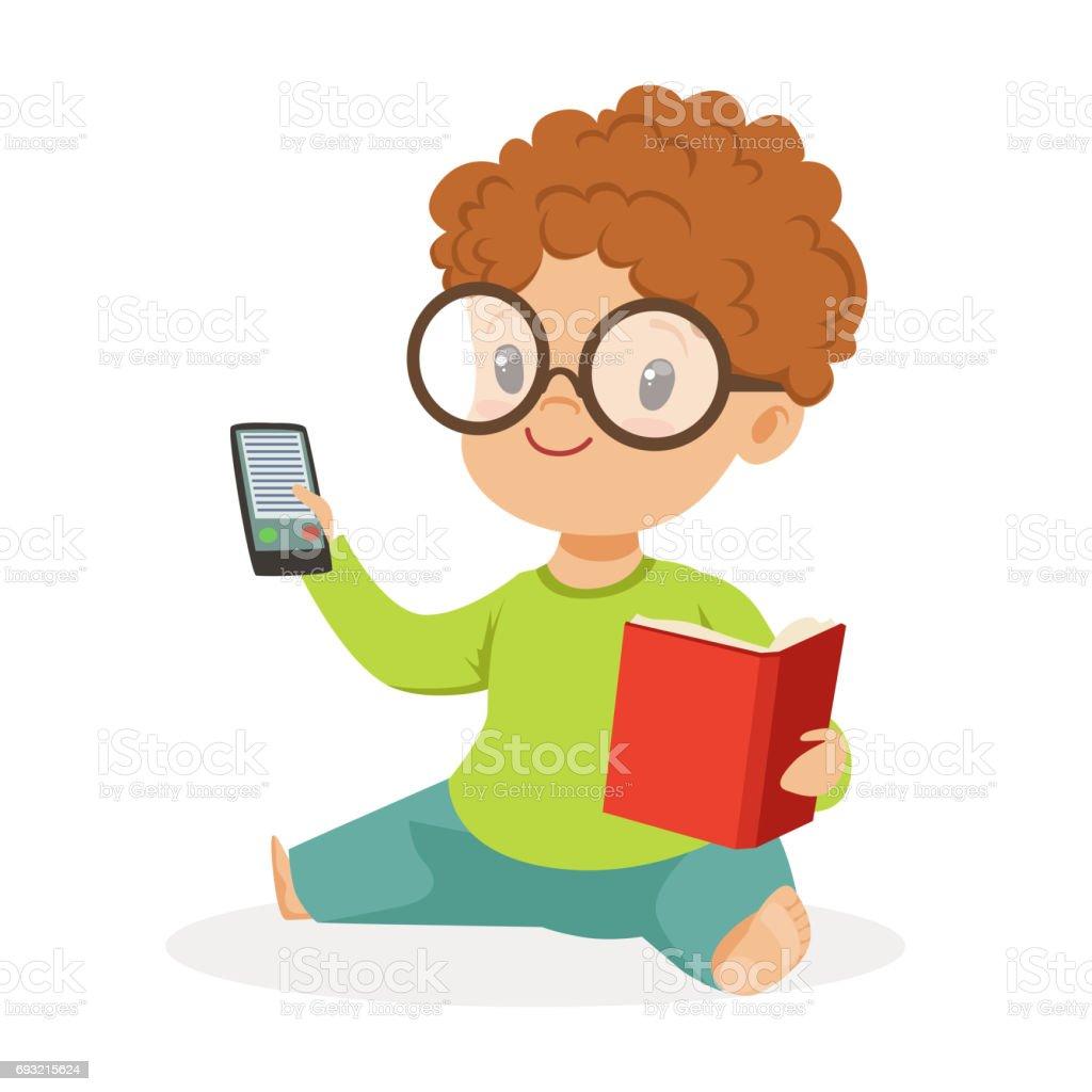 Katta Oturan Ve Kitap Ve Telefon Renkli Karikatür Karakter Vektör