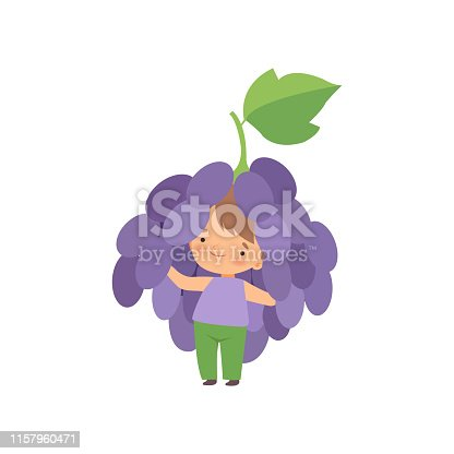 Cute Little Boy Wearing Grape Berry Costume, Adorable Kid Cartoon Character in Carnival Clothes Vector Illustration on White Background.