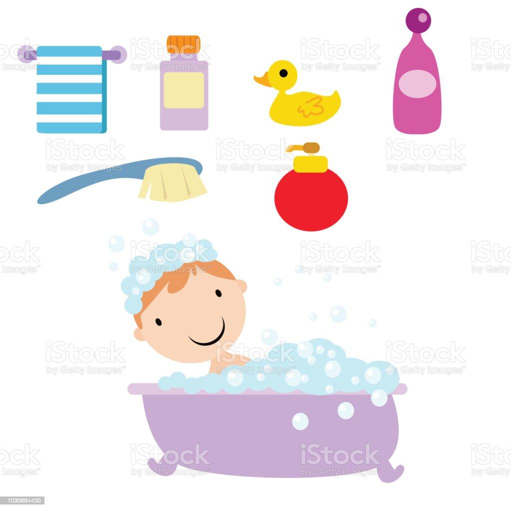 Vetores De Menino Bonitinho Que Esta Tomando Banho Com Seus