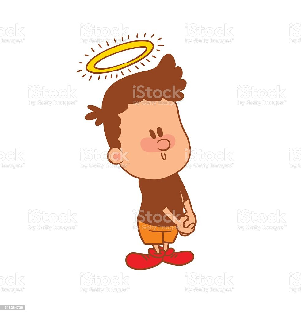 Cute little boy with a halo, color image vector art illustration