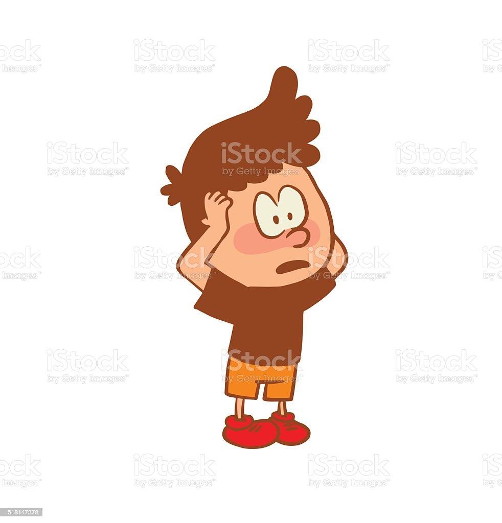 かわいい小さな男の子潮風を顔にてカラー画像 のイラスト素材